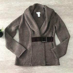 Soft Surroundings Wool Wrap Knit Sweater Cardigan